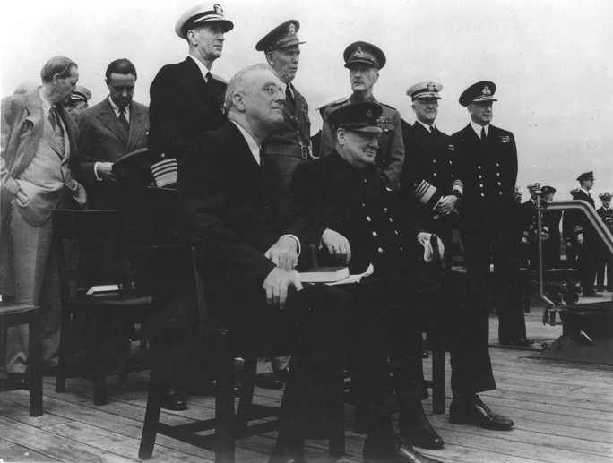 FDR and Winston Churchill aboard the HMS Prince of Wales