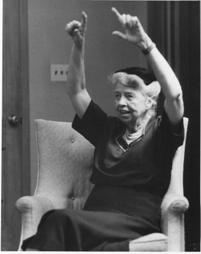 Eleanor Roosevelt visiting the Cold Spring Institute for Gerontology, Cold Spring, New York.