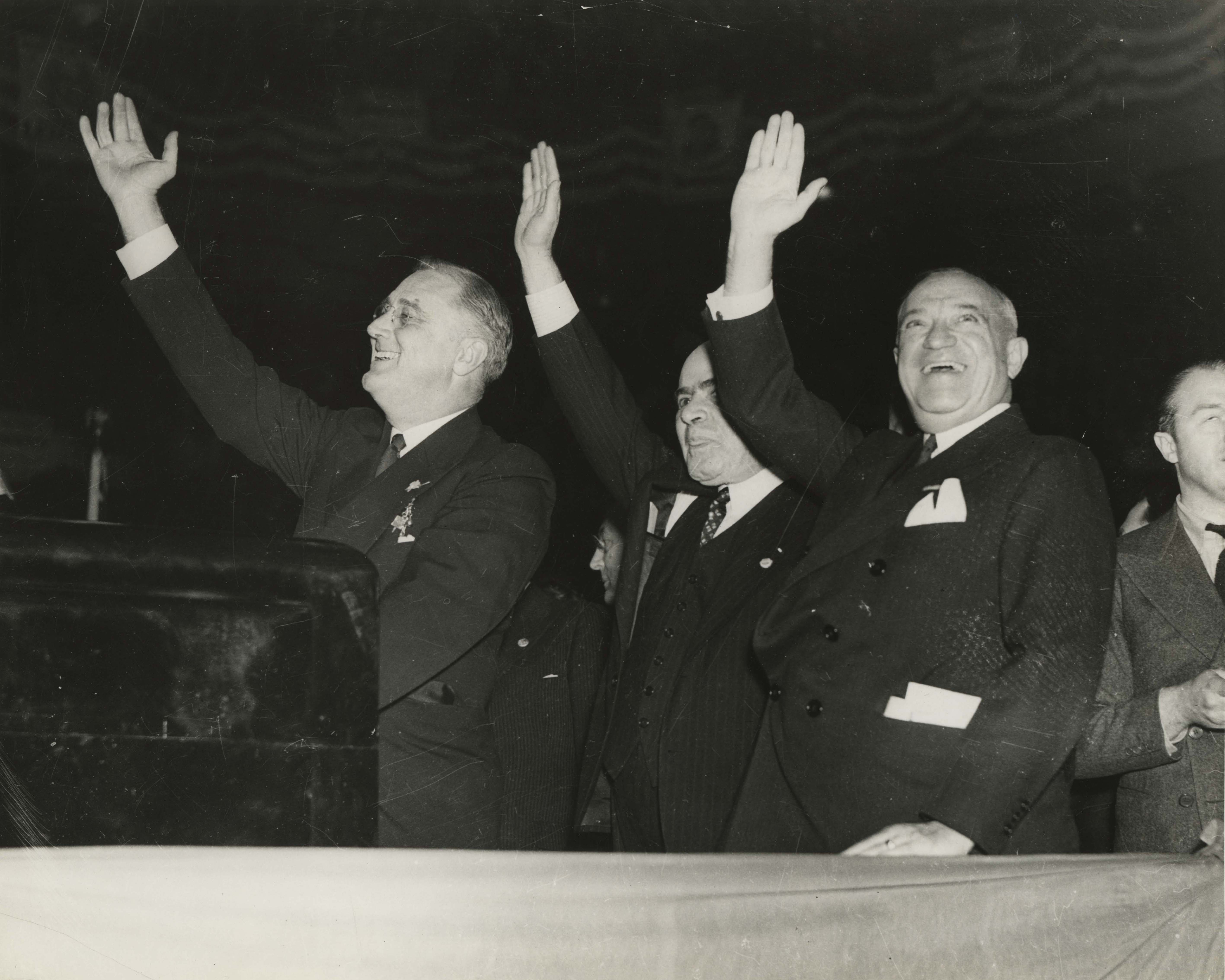 FDR, Lehman & Wagner at Madison Square Garden, October 31, 1936
