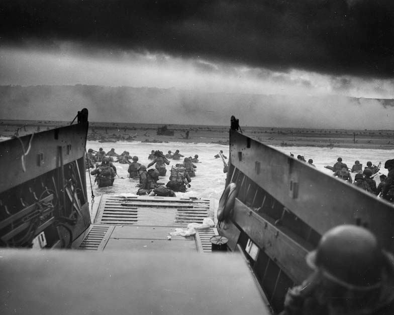American troops head toward Omaha Beach, June 6, 1944