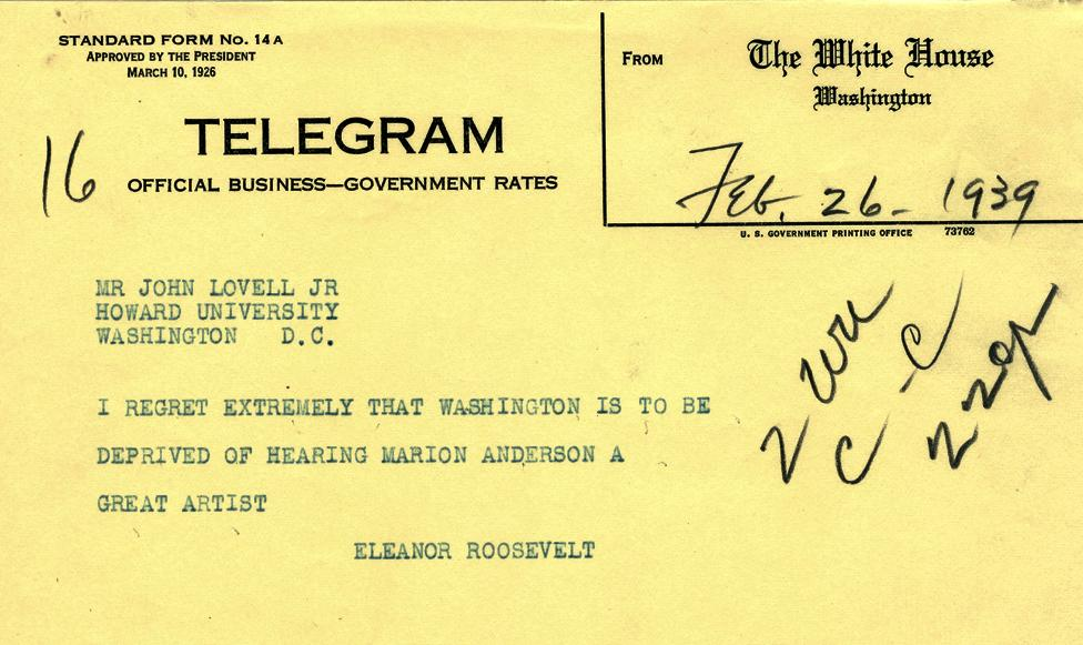 Telegram to John Lovell, Jr. of Howard University