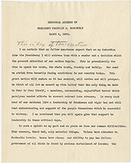 Reading copy of the 1933 Inaugural Address