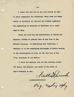 Reading copy of FDR's NCI dedication address