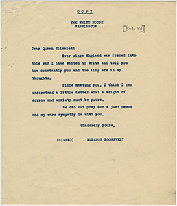Eleanor Roosevelt to Queen Elizabeth