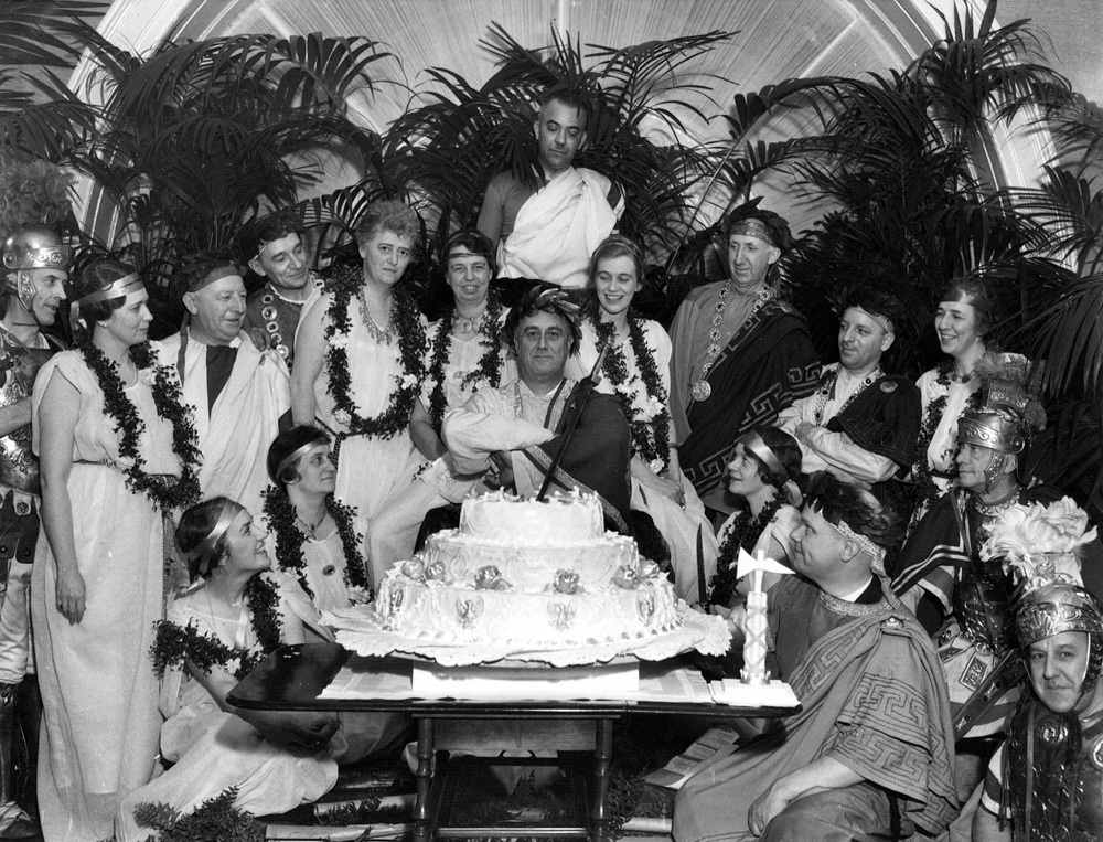 FDR and guests at his Roman-themed birthday celebration